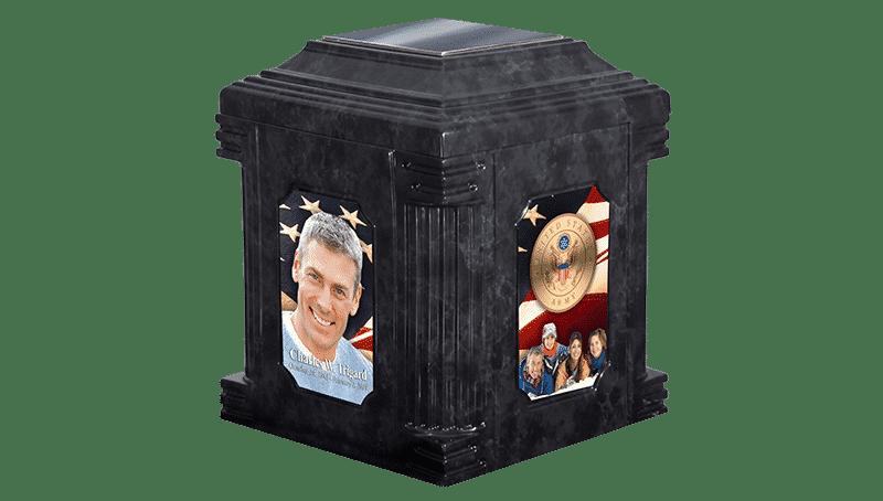 Black Marble Applique Cremation Urn Vault