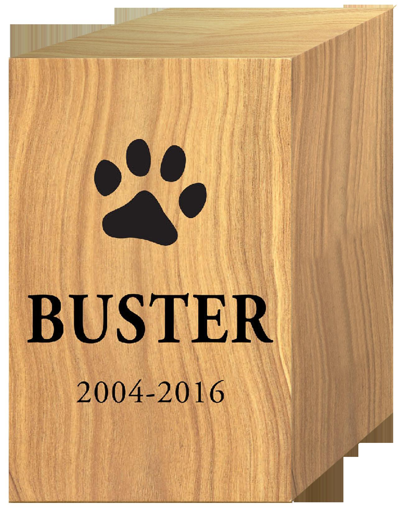 Wood Pet Urn w/ Emblem