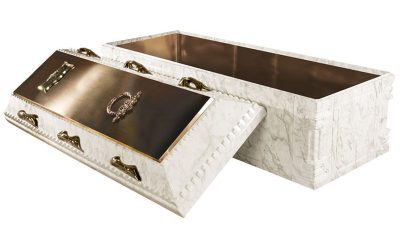 Elite White Marble Bronze Burial Vault