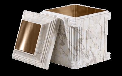 Elite White Marble Bronze Cremation Urn Vault